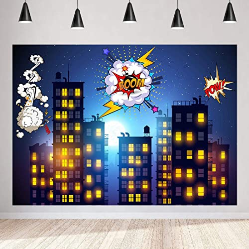 Superhero City Backdrop Boom Building Starry Sky Cartoon 7x5ft Photography Background Themed Party Photo Booth Youtube Backdrop Mmt112